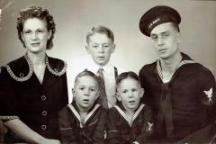 1945 (approx) Location :: Jamestown, North-Dakota :: Grace, Bill Jr., Don, Bob, Bill-Sr.